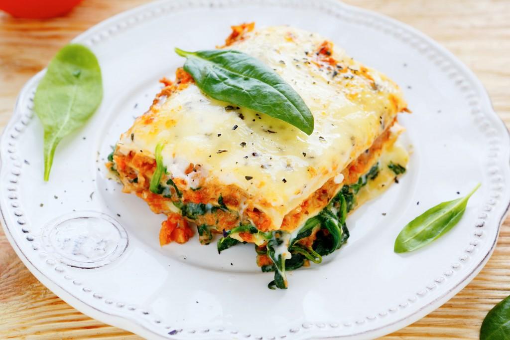 nemaftensmad: fikselasagne med spinat og tomat